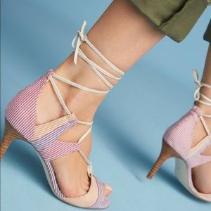 Anthro Billy Ella Striped Lace-Up Heels Caged Wood